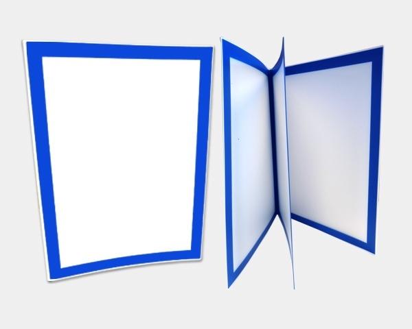 MenuBasik, A4, plaque blanche, bordures bleu fonçé