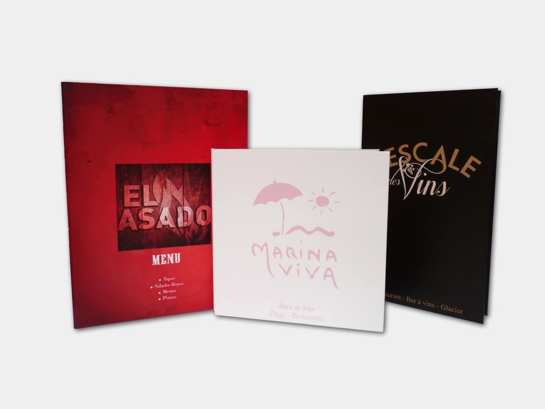 MenuBook Porte Menu Cartonns Impression Numrique Qui Recouvre Un