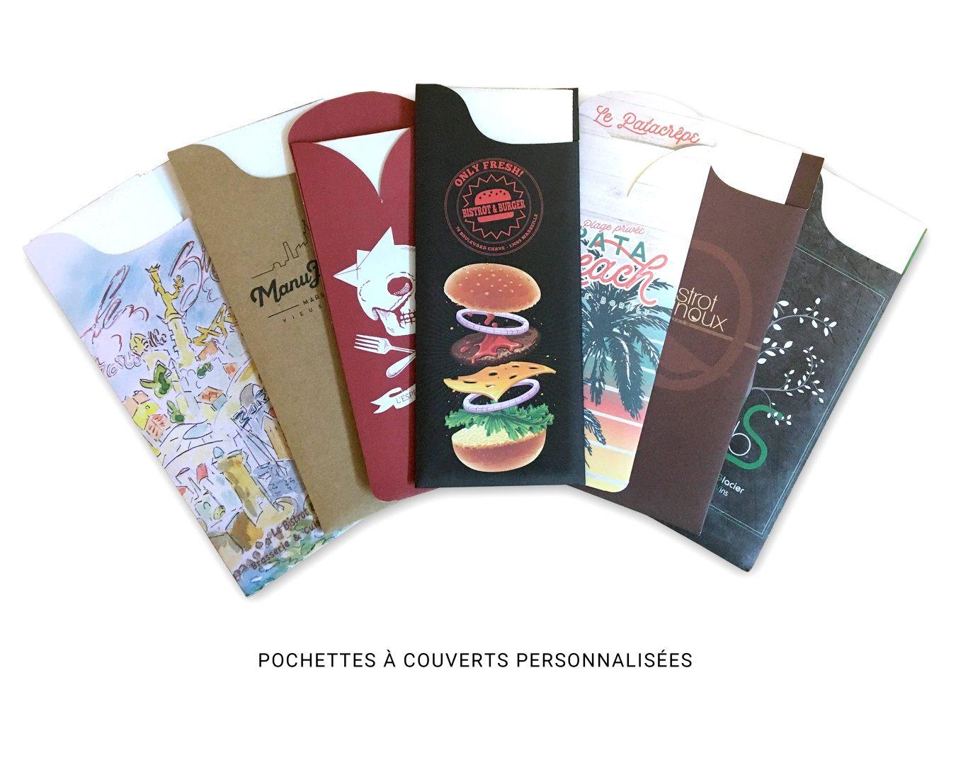 Pochettes couverts personnalis s pochette couverts - Serviette de table personnalise ...